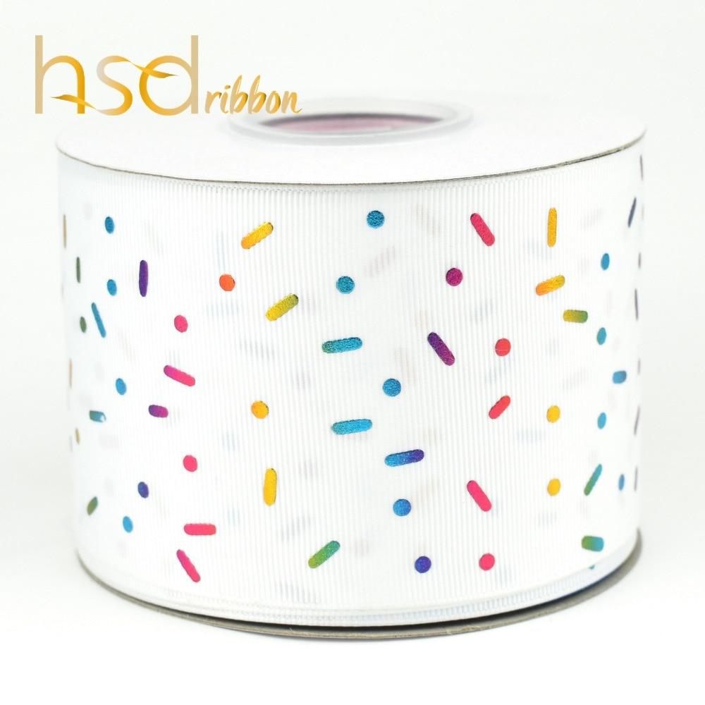 Ruban gros grain HSDRibbon 75mm 3 pouces feuille arc en ciel-in Rubans from Maison & Animalerie    2
