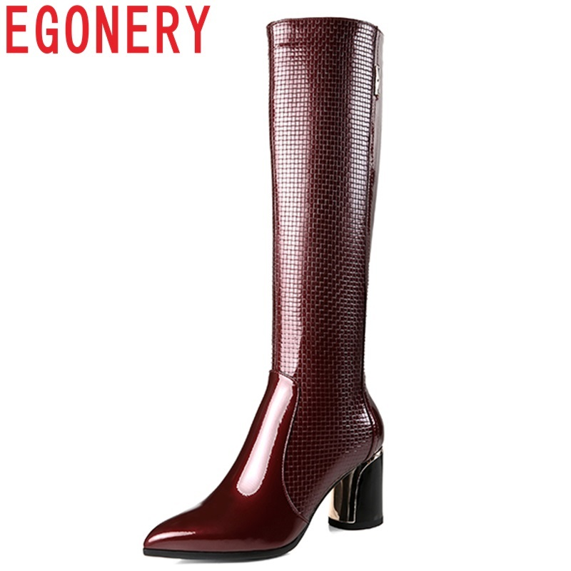 цена на EGONERY 2018 winter new fashion sexy genuine leather women shoes pointed toe high round heels zip outside party knee high boots