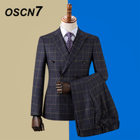 OSCN7 Double breasted Custom Made Suits Men Slim Fit Wedding Party Mens Tailor Made Suit 2019 3 Piece Blazer Pants Vest ZM 586