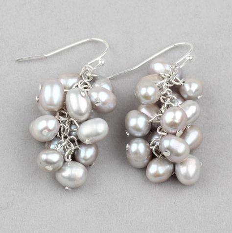 Pretty Natural FRESHWATER PEARL CLUSTER 925 sterling silver Hook Dangle Earrings