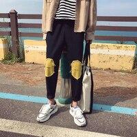 2018 Tendência Da Moda dos homens Novos Preto Remendo Impressão Casuais Calças de Algodão Elástico Da Cintura Calças Afuniladas Tamanho do Tornozelo-comprimento M-2XL