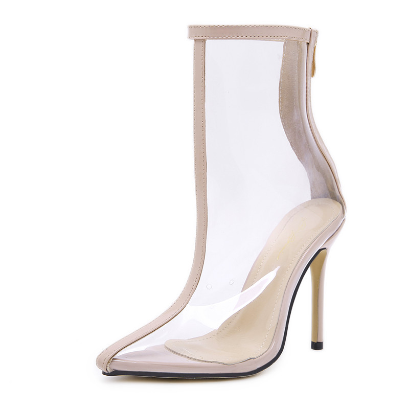 Zapatos apricot Zip Mujeres Primavera Otoño Yellow Thin Runway Sexy Transparente Altos Elegantes Estilo Pvc Mujer Botas Tacones 2019 TgOWBq1