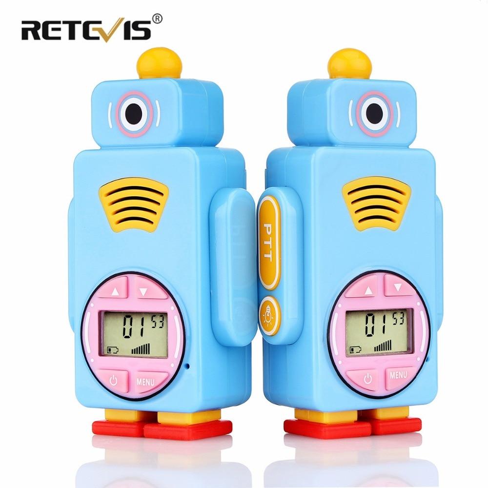 Retevis RT36 Cartoon Robot Walkie Talkie 2pcs Kids Two Way Radio 0.5W VOX Flashlight Micro USB Charging Rechargeable Battery