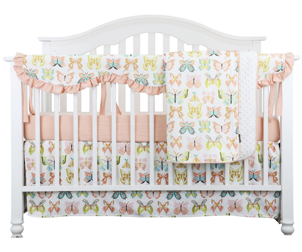 Coral Peach Butterfly Ruffle Baby Minky Blanket Water Color Peach Butterfly Nursery Crib Skirt Set Baby Girl Crib Bedding Bedding Sets Aliexpress