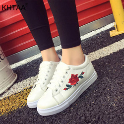 2019 Spring Autumn Vulcanize Shoes Women Flower Embroidery Sneakers Comfortable Female Flats Casual Fashion White Shoes