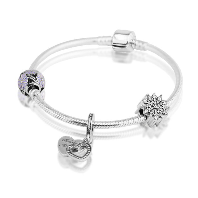 Clip Bracelets With 3pcs Beads 100% 925 Sterling Silver Fine Jewelry Free Shipping
