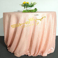 Peach Pink 180inch Round Sequin Tablecloth Baby Pink Sequin Table Overlays for Wedding Banquet Table Decoration &a