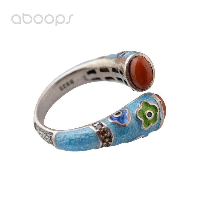 Mode ethnique 925 Sterling argent émail anneau ouvert avec pierre rouge vert pour les femmes filles réglable livraison gratuite