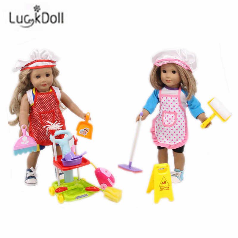 LUCKDOLL 14-Piece Чистящий Набор подходит 18 дюймов Американский 43 см детская кукла одежда аксессуары, игрушки для девочек, поколение, подарок на день рождения