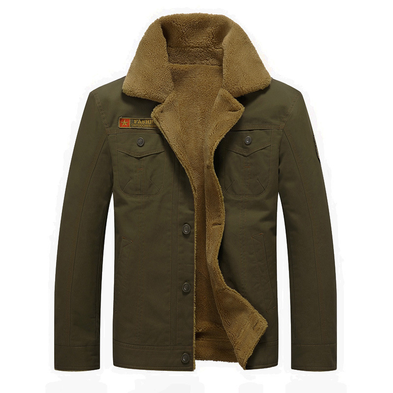 Hommes Slim Fit veste en peluche chaud à manches longues extérieur pardessus militaire tactique outillage Bomber veste Streetwear