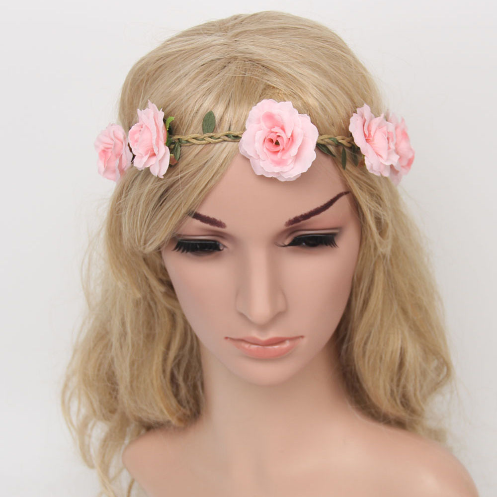 1PC Fashion Women Summer Bohemia Flower Headband Wedding Bride Party Girl Floral Garland Wreath Tiara Hair Accessories free shipping and hand customize new style20pcs blessing good girl modern style headband accessories hyacinth garland hair bow