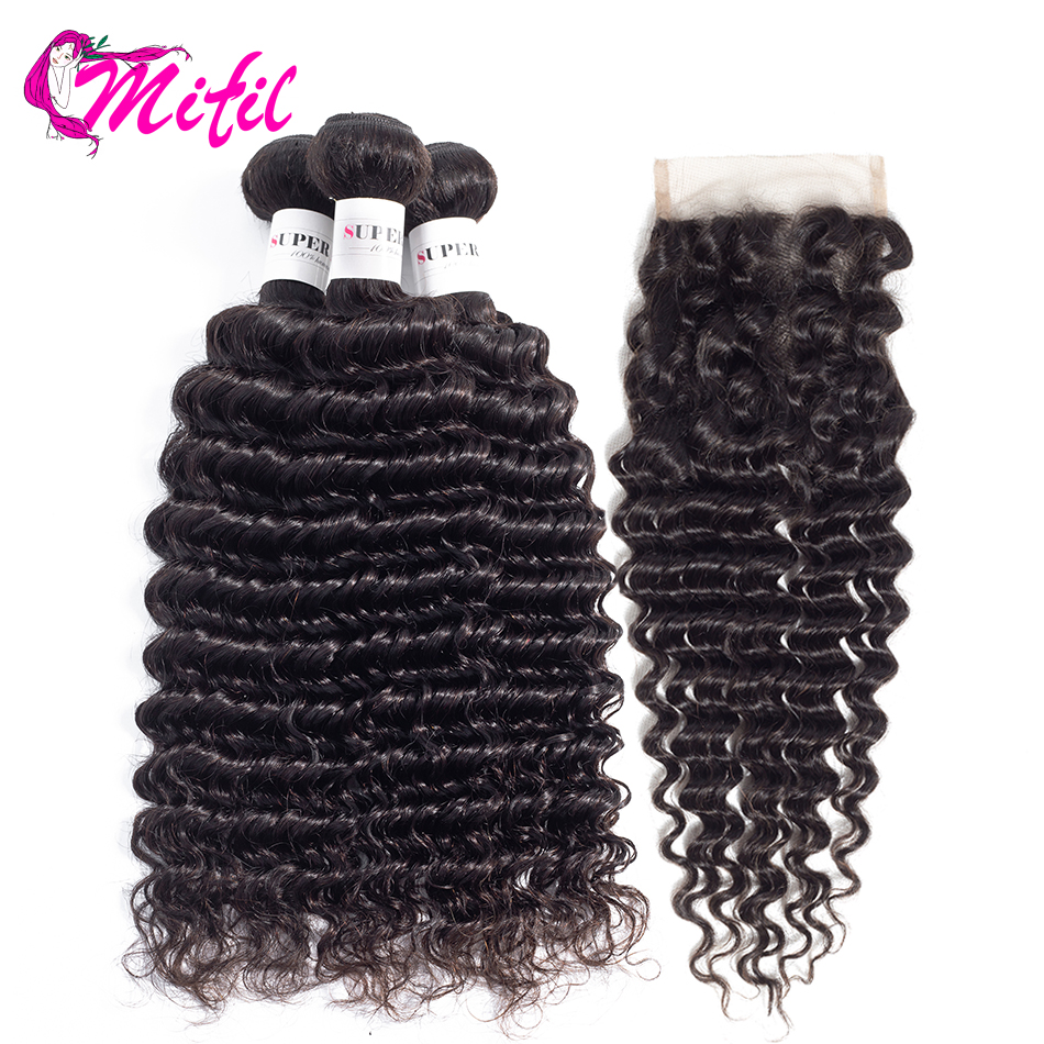 Mifil Deep Wave Bundles With Closure Top Human Hair Weave Non Remy Hair Malaysian Hair Bundles