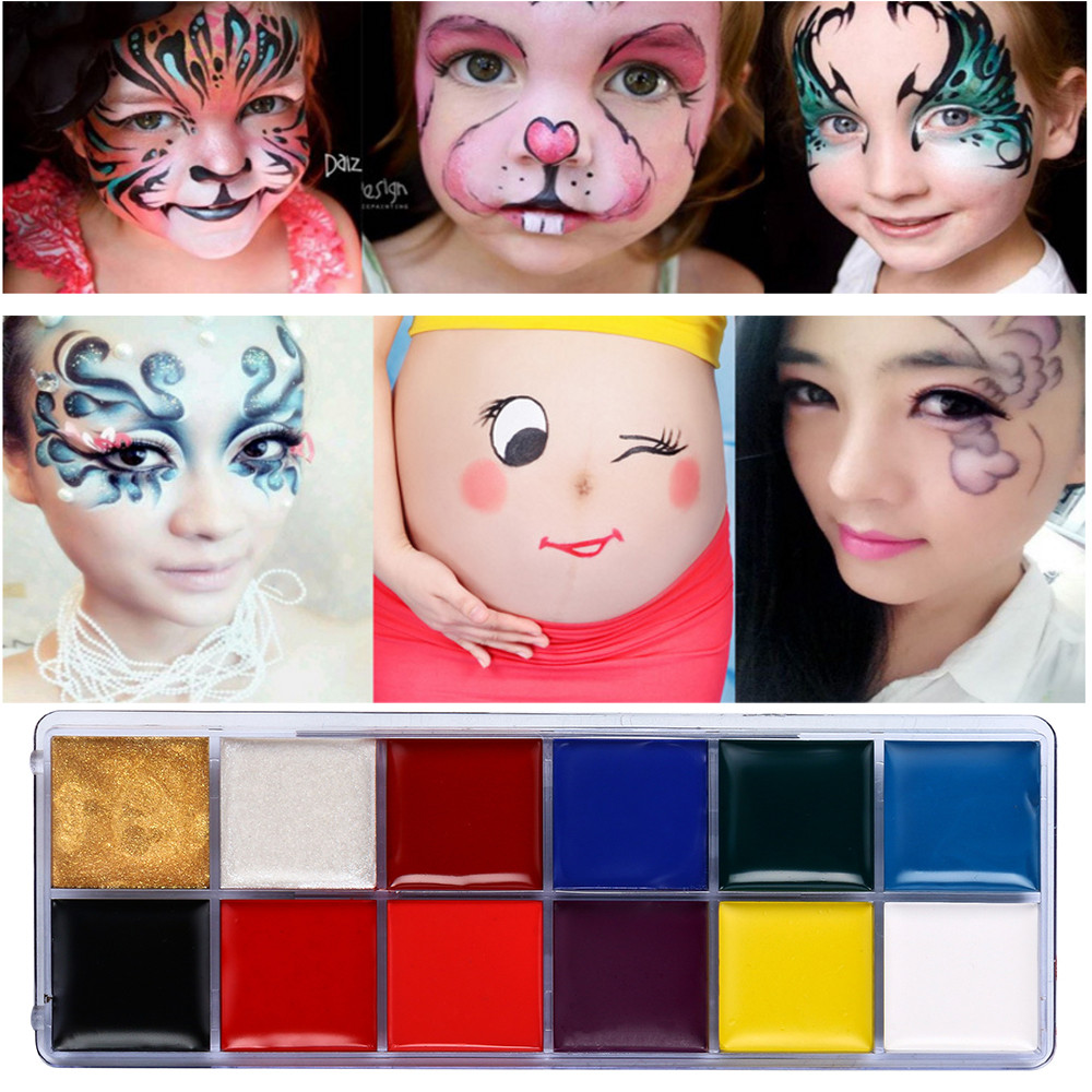 SALE 12 Color Brand New Body Painted Oil Color Drama Clown Halloween Makeup Face Color Easy To Carry And Convenient to Use Gift