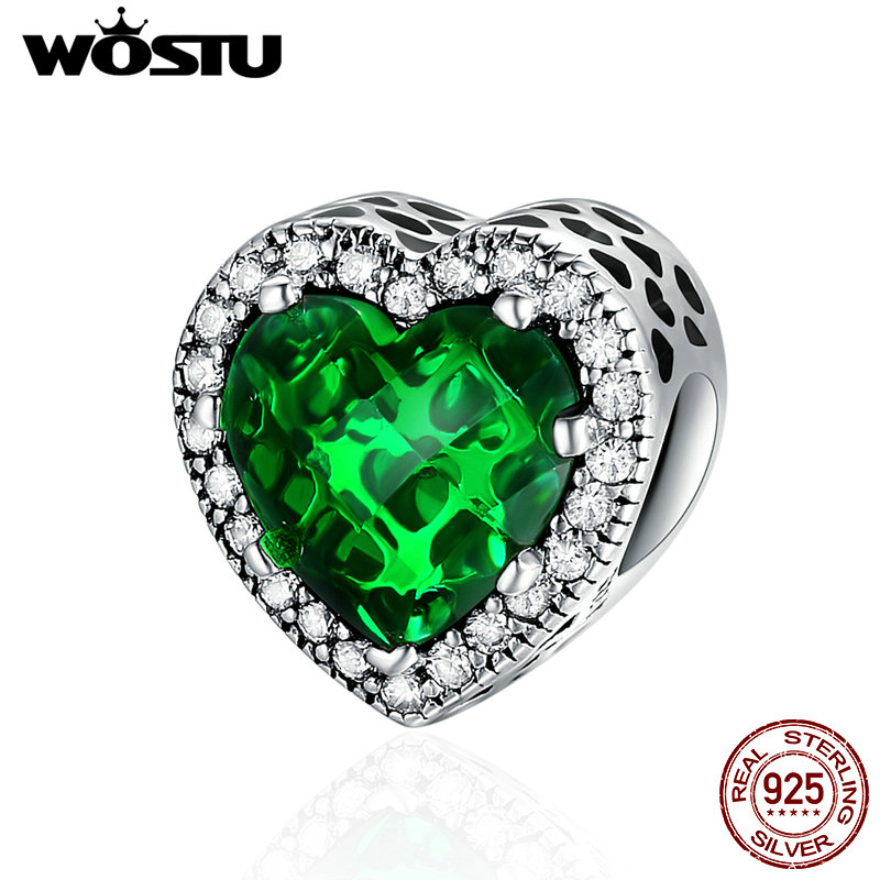 WOSTU 100% 925 Sterling Silver Dazzling Radiant Green Heart Shape Charm Beads Fit Original WST Bracelet Jewelry Gift CRC137 mysterious green head heart bracelet