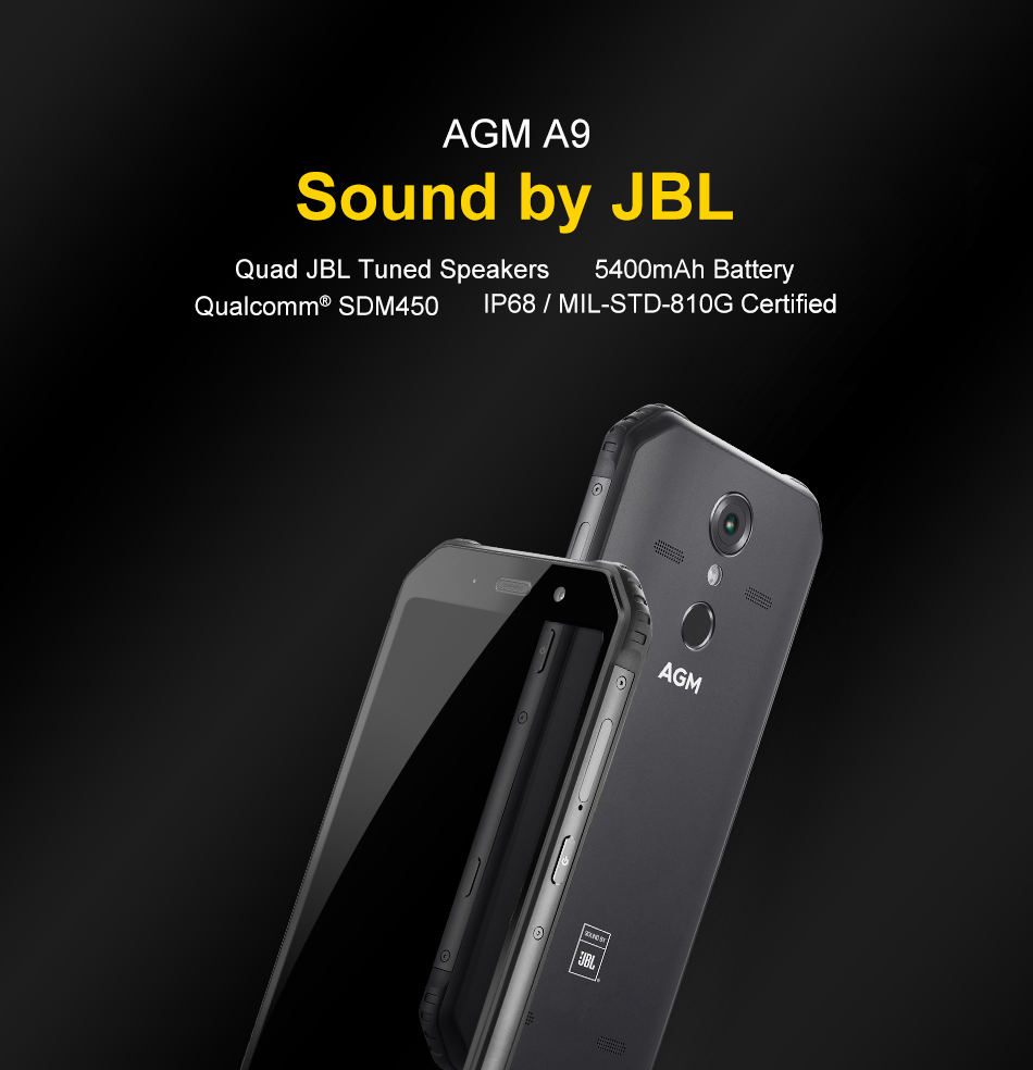 "HTB1IBhHaOnrK1Rjy1Xcq6yeDVXab OFFICIAL AGM A9 JBL Co-Branding 5.99"" FHD+ 4G+32G Android 8.1 Rugged Phone 5400mAh IP68 Waterproof Smartphone Quad-Box Speakers"