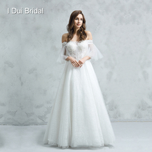 فستان زفاف نصف كم مكشوف الأكتاف فستان زفاف مزين بالدانتيل