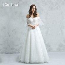 オフショルダー半袖ウェディングドレス A ラインレースアップリケの花嫁衣装