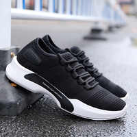 QWEDF New Summer Men's White Shoes Mesh Breathable Men Shoes Fly Weave Sneakers Spring Autumn Black gray Male Shoes CZ-33