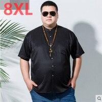 Large size 8XL 7XL Men Shirt Short Sleeve Casual linen Social Male Dress Shirts Male Shirt Top Quality Summer Camisa Masculina