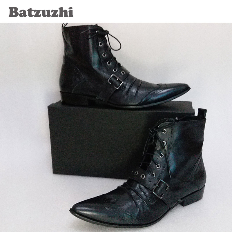 c1143cb3267f1 Batzuzhi Mens Black Leather Boots Fashion Designer Lacing Up Buckle Strap  Pointed Toe Short Motorcycle Boots Men
