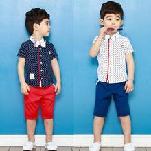 [Bosudhsou] enfants Vêtements bébé garçons vêtements courts costumes d'enfants réglés monsieur chemise d'été t-shirt + pantalon ensembles bowknot costume M-3