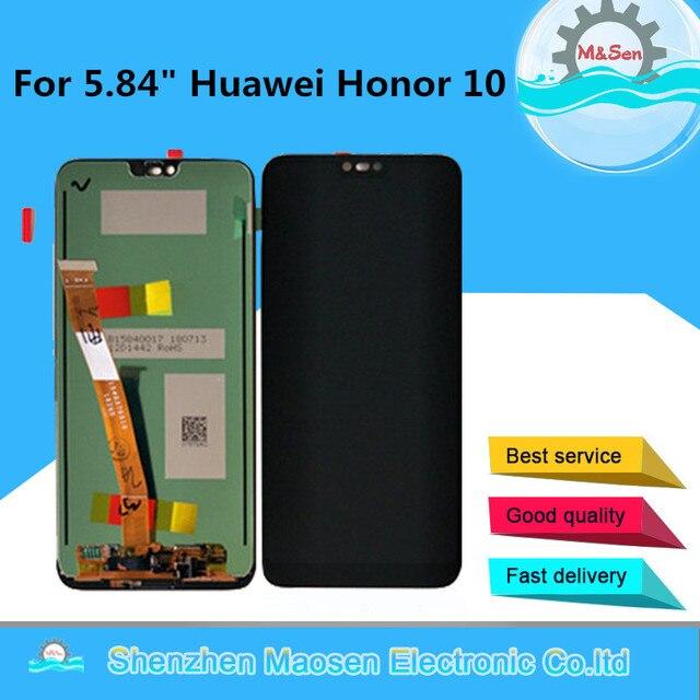 """Oryginalny M & Sen 5.84 """"dla Huawei Honor 10 wyświetlacz LCD + Panel dotykowy Digitizer z odciskiem palca dla COL AL10 COL L29 COL L19"""