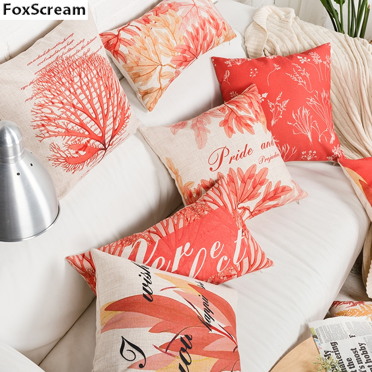 Marine Decorative Throw Pillows Cover Modern Red Coral