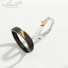 inbeaut Silver Together as the Shadow Couple Rings White&Black Gold-color Lovers Shadows S925 Ring for Women Artistic Jewelry silver shadows