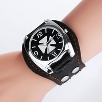 Vintage Cool Design Rock Punk Style Skull Watches Men Leather Band Square Dial Retro Rivets Bracelet