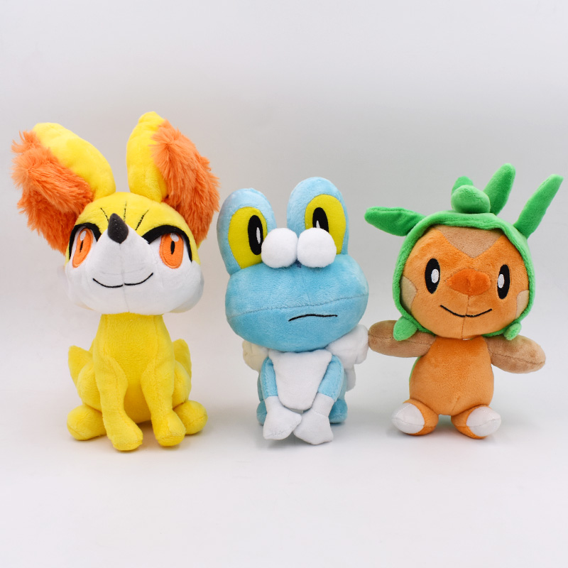 3Styles 17-24cm Doll Plush Peluche Chespin Fennekin Froakie Anime Plush Toy Soft Stuffed Doll For Children's Great Birthday Gift
