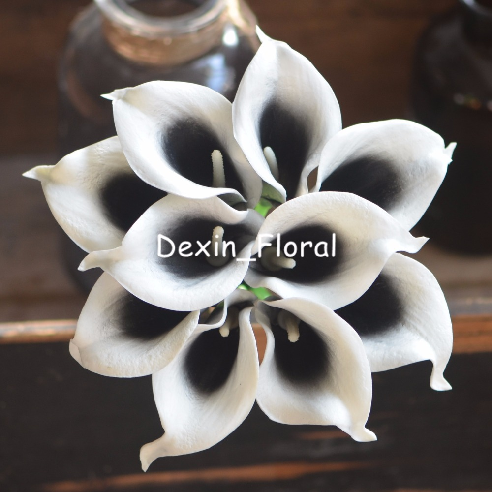 Black Picasso Calla Lilies Real Touch Flowers For Silk Wedding