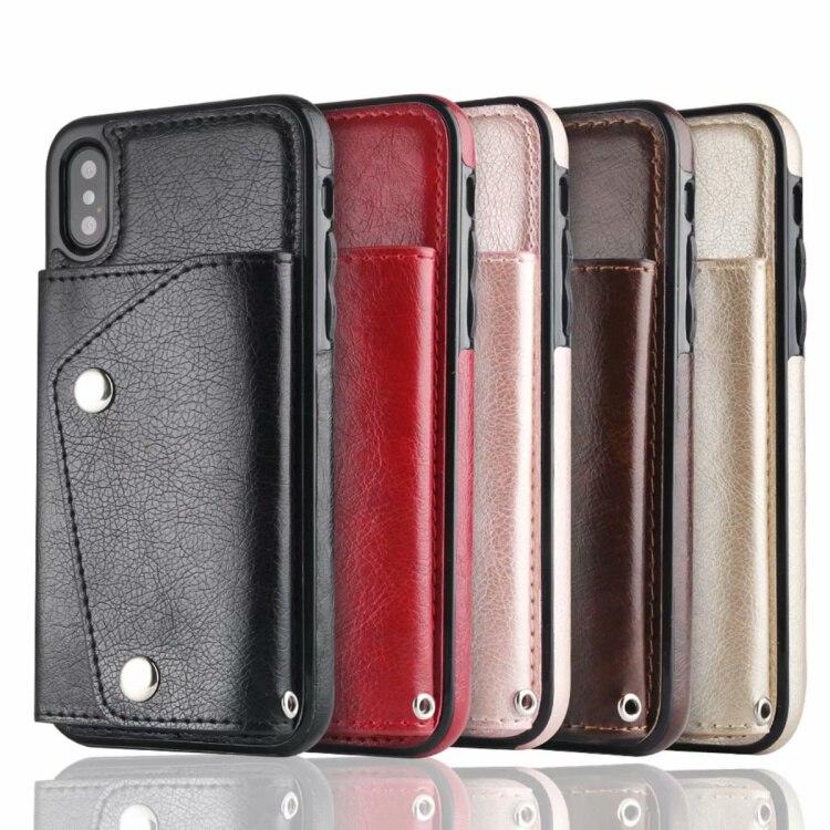 CKHB vintage PU caso para iPhone 6 6 S 7 7 Plus X cubierta de la ranura de la tarjeta para samsung galaxy S8 S9 más Note8 Note9 de lujo volver funda