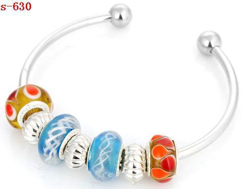 1pc Handmade porcelain Murano glass & metal beaded European charm bracelet s-630
