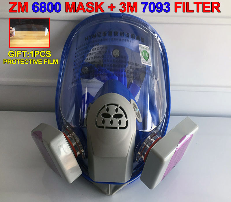 1PCS ZM 6800 Mask + 2PCS 3M 7093 CN Filter Blue Silicone Respirator Gas Mask For Dust Particulates Smoke Respirator Full Mask