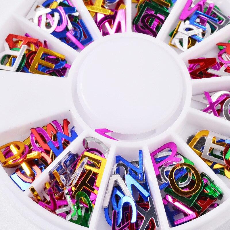 Elecool 12 сетки/1 компл. красочные 3D Украшения Письмо Дизайн ногтей Стикеры Дизайн ногтей маникюр Аксессуары