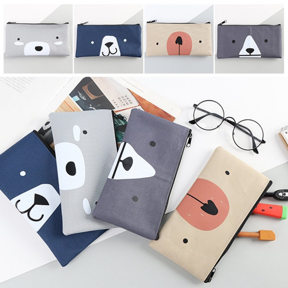 4 Styles Simple Cartoon Creative Canvas Bag Female Student Bulk Zippered Pencil Case Pencil Bag Student Stationery Office