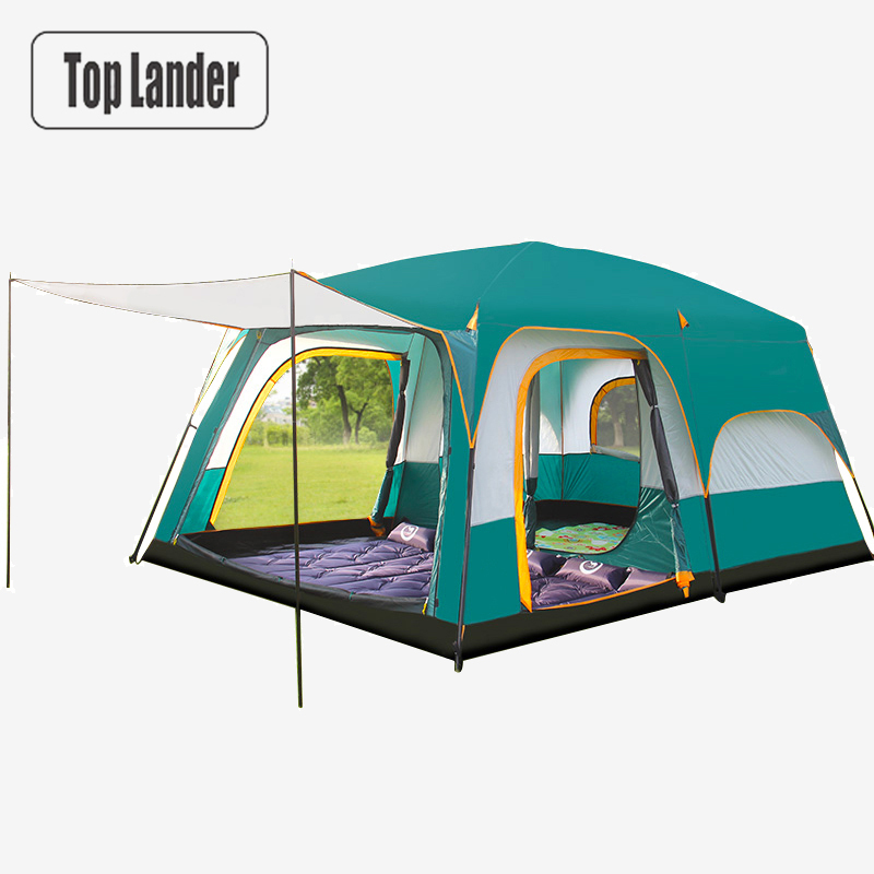 8-12 Person Large Family Tent For Outdoor Camping Hiking Travel 2 Room Breathable Waterproof Cabin Tent Half Cover Double Layer outdoor 8 12 person tunnel big beach tent single layer portable large waterproof awning camping tente family free shipping zp98