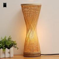Bamboo Wicker Rattan Spire Vase Table Lamp Fixture Creative Rustic Korean Asian Japanese Style Desk Light Abajur Bedroom Bedside