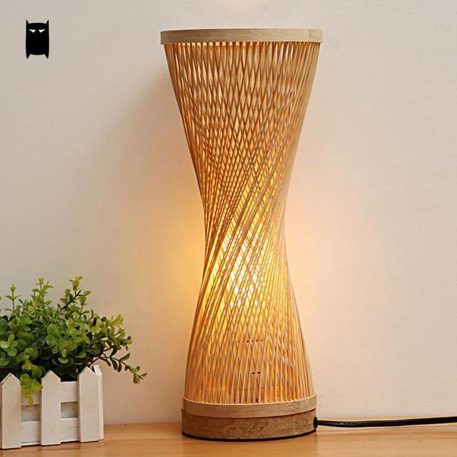 Bamboo Wicker Rattan Spire Vase Table Lamp Fixture Creative Rustic Korean  Asian Japanese Style Desk Light