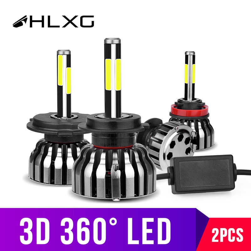 hlxg 3D 360degree 4 Sides 12000LM H11 Fog lights H8 H4 h7 LED Headlight HB3 9005 HB4 880 881 H27 LED H1 High low beam Auto Lamps