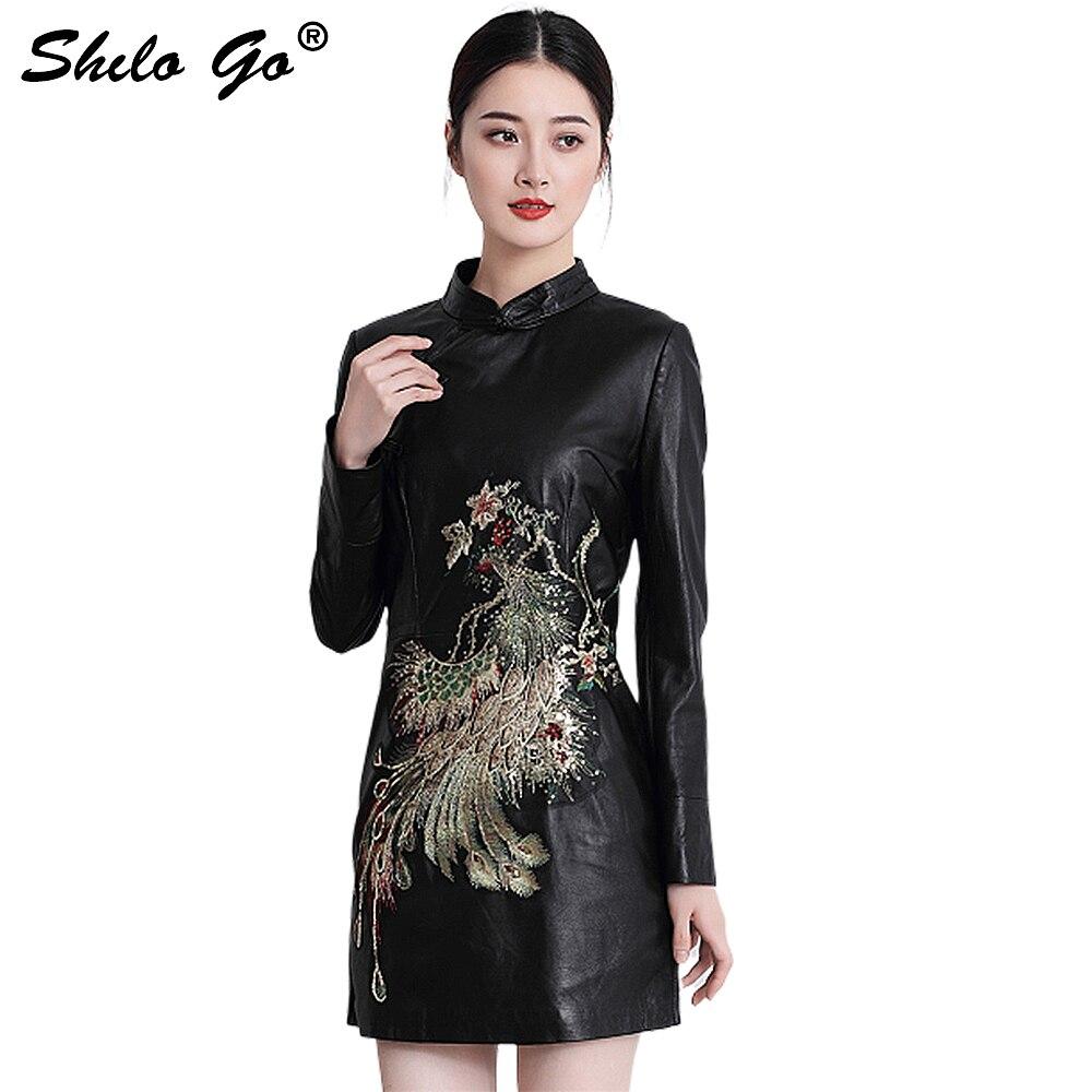 Mode femmes haute qualité peau de mouton col Mandarin vintage luxe paillettes perles Phoenix véritable cuir sexy robe crayon