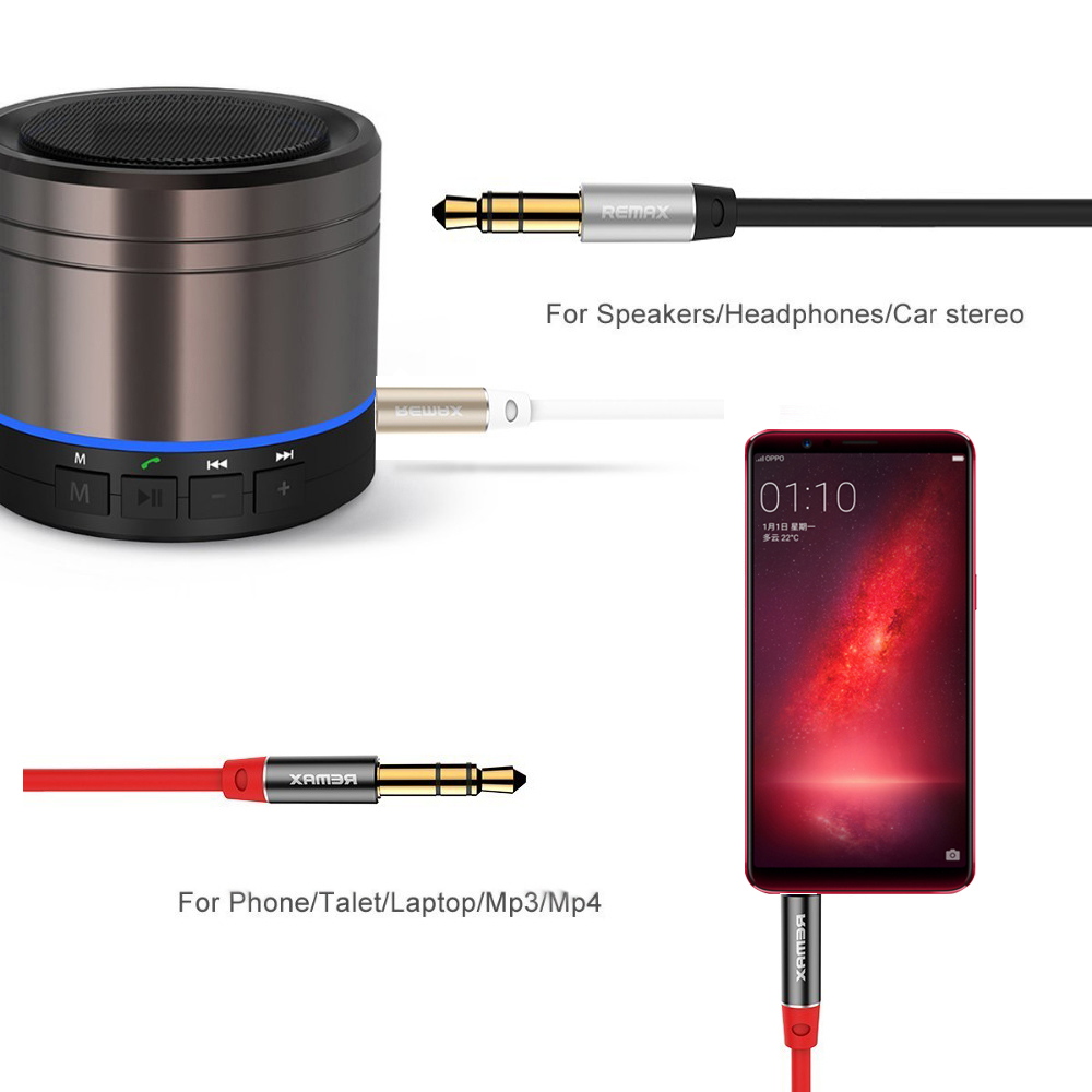 Remax 35mm Jack Aux Audio Cable Gold Plated 35 Mm Male To Splitter Converter Headset Microphone Handphone Auxiliary For Iphone 5s 6s Car Speaker Mp3 Mp4 Music In Video Cables From