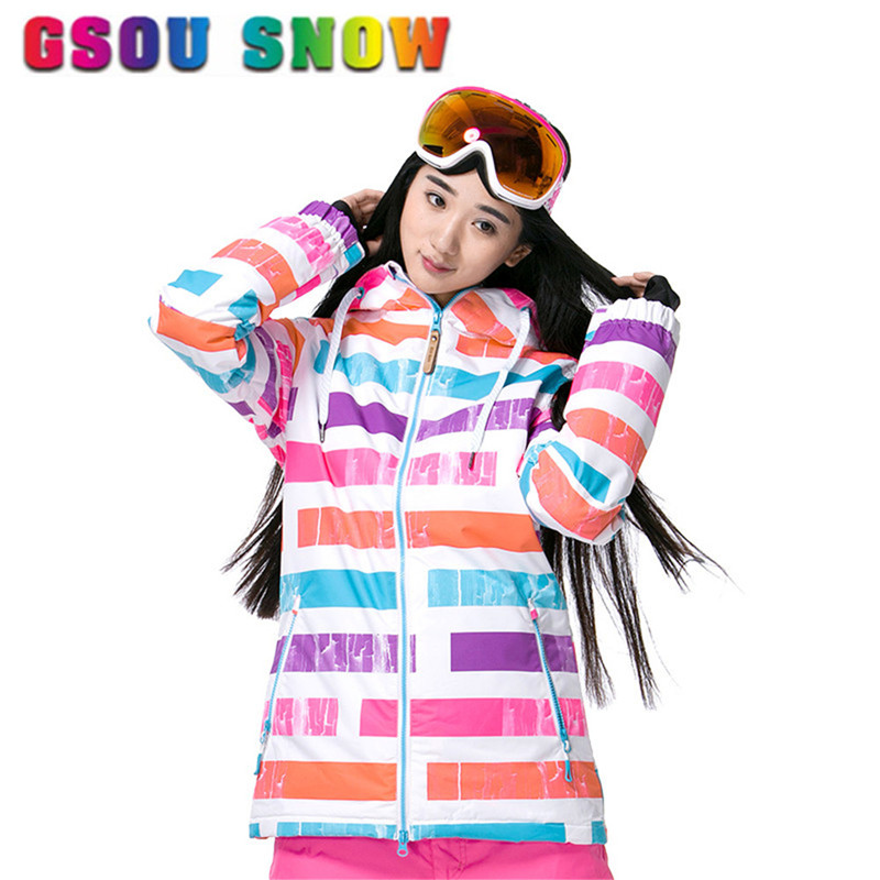 Prix pour Gsou Neige Ski Veste Femmes Dames Imperméables de Neige Snowboard Veste Haute Qualité Ski Costume Femmes Sports de Plein Air Chaleur Vêtements