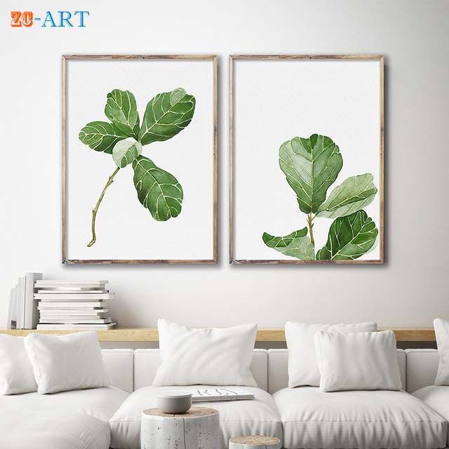 Us 5 7 24 Off Mirrors Framed Fiddle Leaf Fig Watercolor Painting Leaves Drawing Scandi Green Plant Minimalist Botanical Wall Art Officedecor In