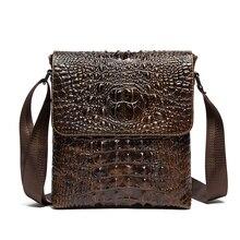 100 Genuine Leather Alligator Men font b Bags b font Crocodile Pattern font b Crossbody b