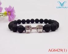 Wholesale Alloy Metal Barbell & Black Natural Matte Stone Beads Fashion Dumbbell Bracelets Men Stretch Yoga Bracelet pulseras