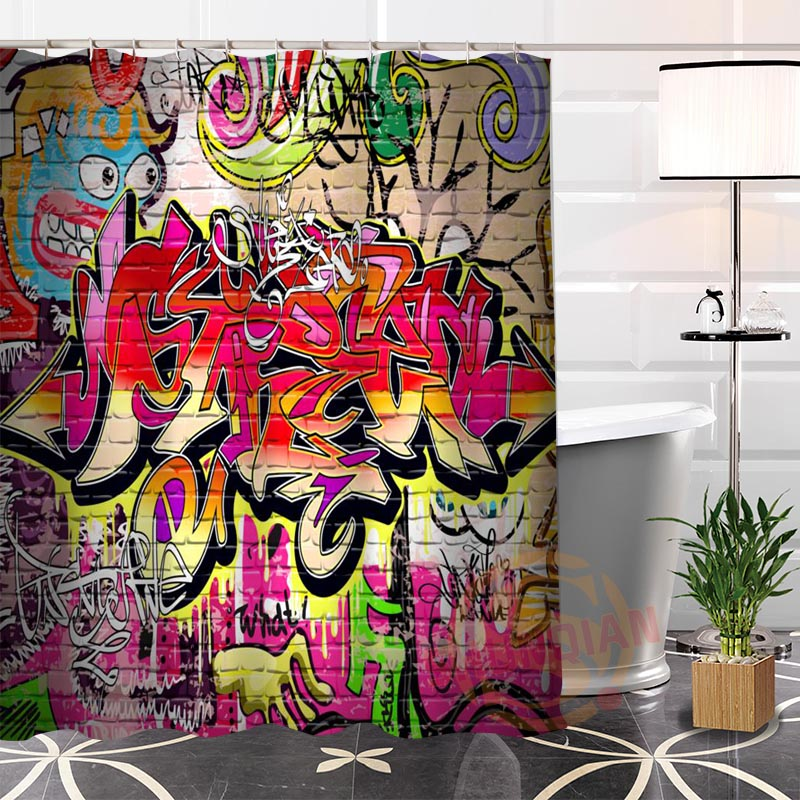Eco-friendly Custom Unique Graffiti Cool Fabric Modern Shower Curtain bathroom Waterproof for yourself H0220-31