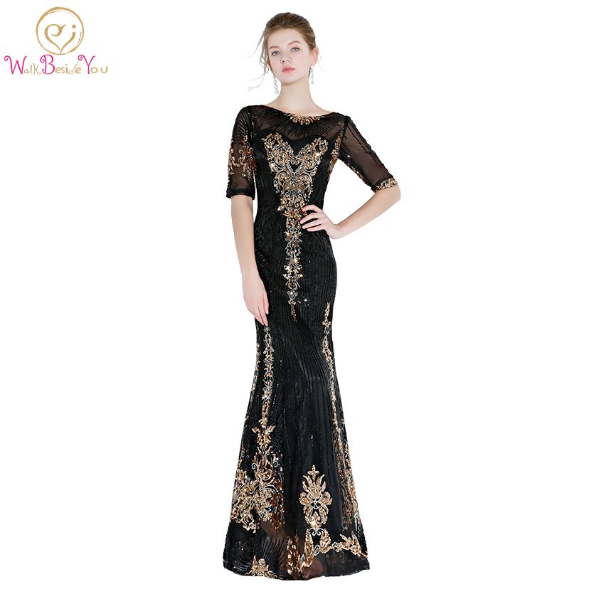 Walk Beside You Black Gold Prom Dresses Sequined Bling Mermaid Half Sleeves Evening Gowns Long Floor