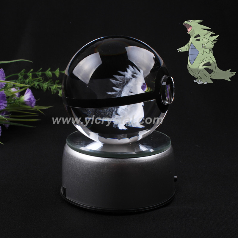Tyranitar Pokemon Ball With Engraving Crystal Ball New Style Good Quality With Led base With Gift Box