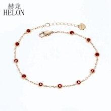 HELON Real 18 К розовое золото Сертифицированный круглый 0.65ct натуральный рубин свадебный браслет для женщин Девушка подарок вечерние модные ювелирные изделия